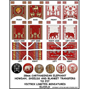 Carthaginian War Elephant shield, howdah and blanket transfers